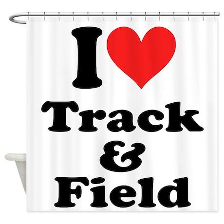 I Heart Track Field: Shower Curtain