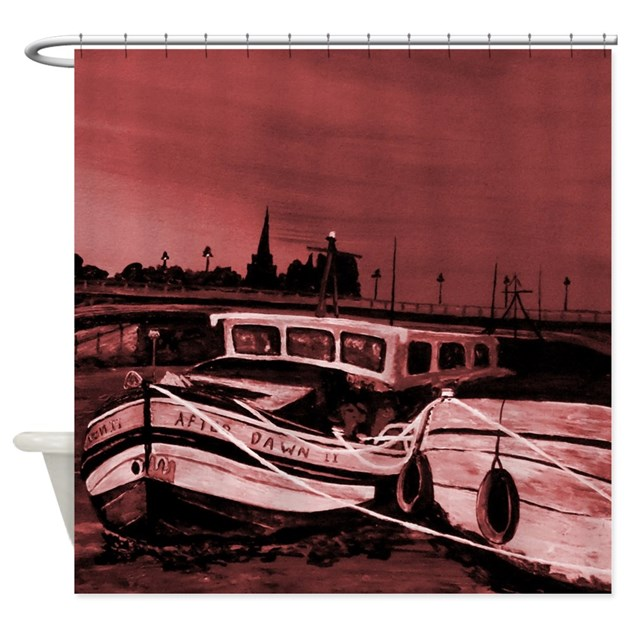 Maroon Tint Nautical Shower Curtain By Markmoore