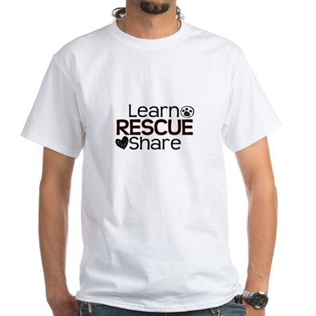 Learn Share Rescue White T-Shirt