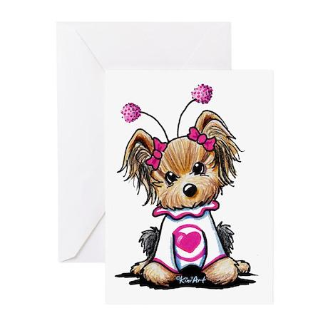 Yorkie Luv Bug Greeting Cards (Pk of 10)