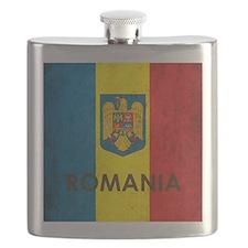 Romania Grunge Flag Flask