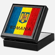 Romania Grunge Flag Keepsake Box