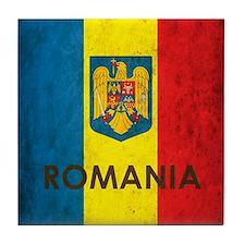 Romania Grunge Flag Tile Coaster