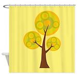 Yellow Designer Tree Shower Curtain
