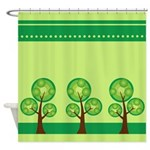 Green Funky Trees Shower Curtain