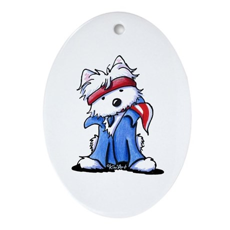 Westie Boss Ornament (Oval)
