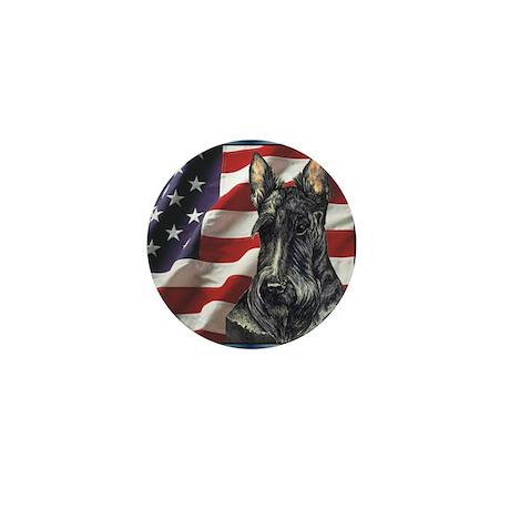 Scottish Terrier US Flag Mini Button