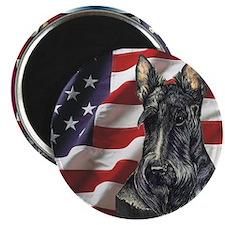 Scottish Terrier US Flag Magnet