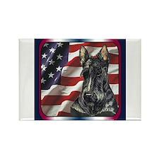Scottish Terrier US Flag Rectangle Magnet