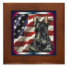 Scottish Terrier US Flag Framed Tile