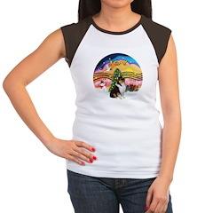 XMusic2-Collie (Tri) Women's Cap Sleeve T-Shirt