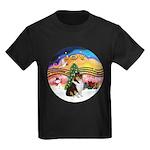 XMusic2-Collie (Tri) Kids Dark T-Shirt