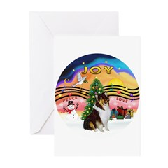 XMusic2-Collie (Tri) Greeting Cards (Pk of 10)