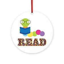 Cute Bookworm Ornament (Round)