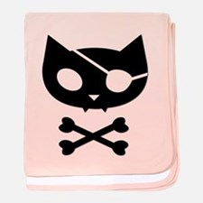 Pirate Kitty baby blanket - pink