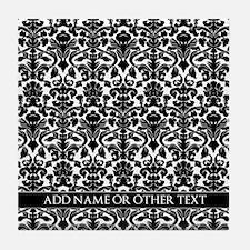 damask pattern custom Tile Coaster