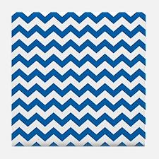 chevron pattern blue Tile Coaster