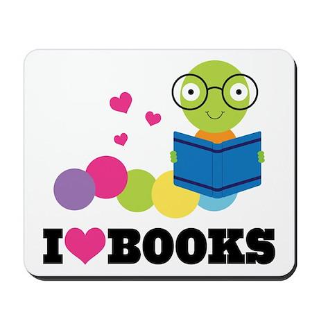 Bookworm I Heart Books Mousepad
