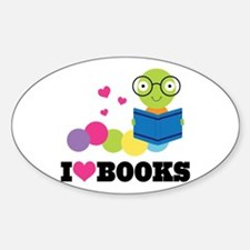 Bookworm I Heart Books Sticker (Oval)