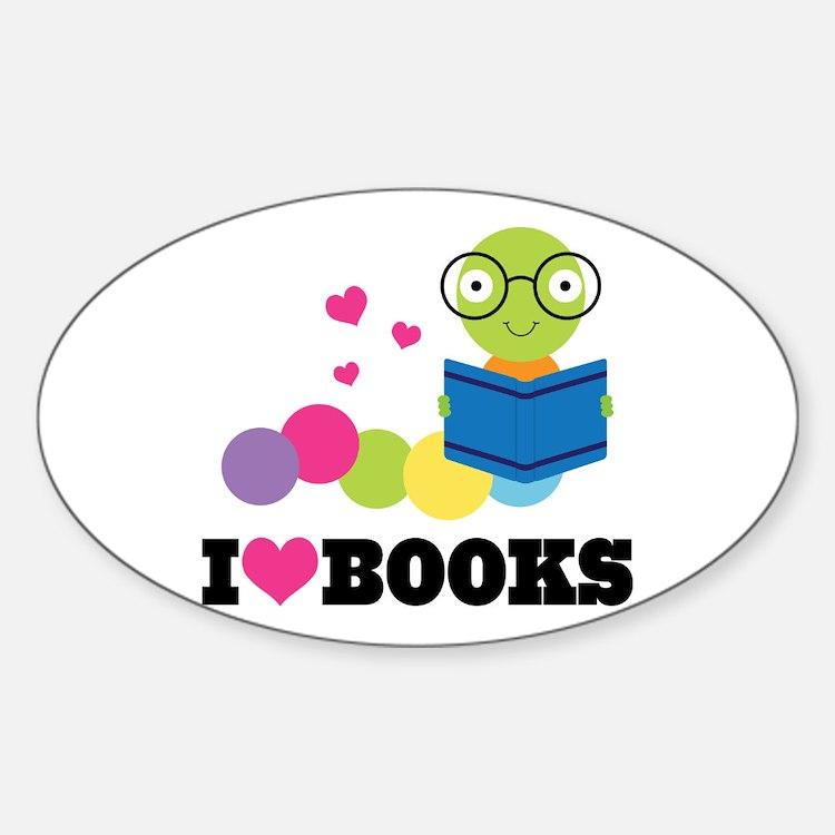 Bookworm I Heart Books Sticker (Oval)