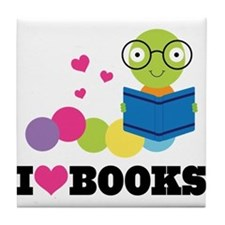 Bookworm I Heart Books Tile Coaster