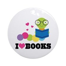 Bookworm I Heart Books Ornament (Round)