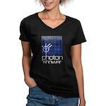 Solar Powered Women's V-Neck Dark T-Shirt