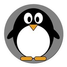 cute penguin drawing Round Car Magnet