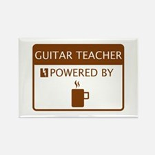 Guitar Teacher Powered by Coffee Rectangle Magnet