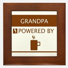 Grandpa Powered by Coffee Framed Tile