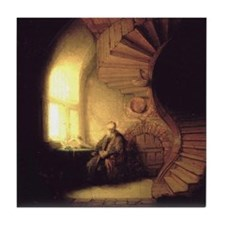 Rembrandt Philosopher in Meditation Tile Coaster