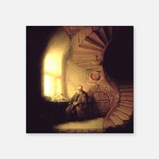 Rembrandt Philosopher in Meditation Square Sticker