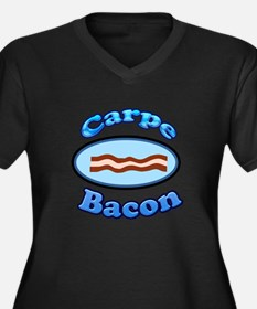 Carpe bacon Women's Plus Size V-Neck Dark T-Shirt