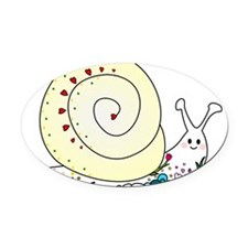 Colorful Cute Snail Oval Car Magnet