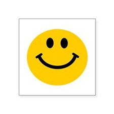 "Yellow Smiley Face Square Sticker 3"" x 3"""