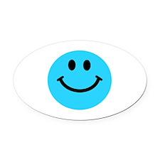 Blue Smiley Face Oval Car Magnet