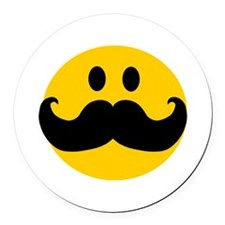 Mustached Smiley Round Car Magnet
