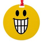 Grinning Smiley Round Ornament
