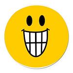 Grinning Smiley Round Car Magnet