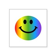 "Rainbow Smiley Face Square Sticker 3"" x 3"""