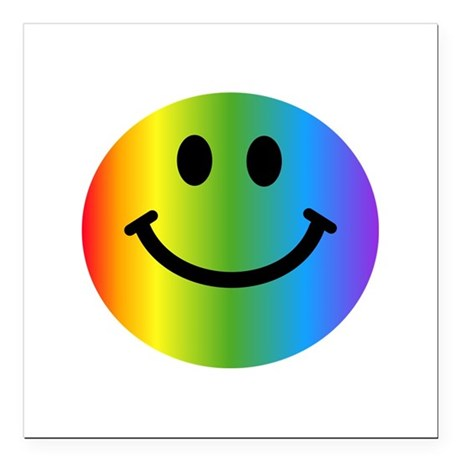 """Rainbow Smiley Face Square Car Magnet 3"""" x 3"""""""