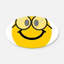 Geek Smiley Oval Car Magnet