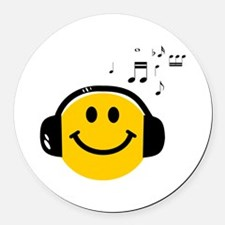 Music Love Smiley Round Car Magnet