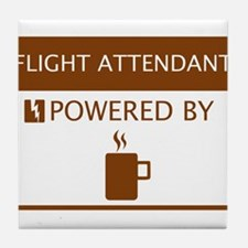 Flight Attendant Powered by Coffee Tile Coaster