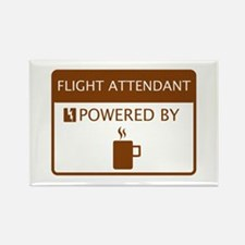 Flight Attendant Powered by Coffee Rectangle Magne