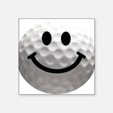 "Golf ball smiley Square Sticker 3"" x 3"""