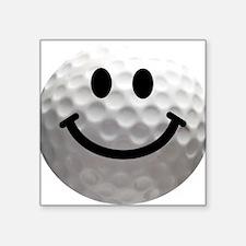 Golf ball smiley Square Sticker 3