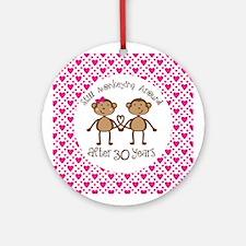 30th Anniversary Love Monkeys Ornament (Round)