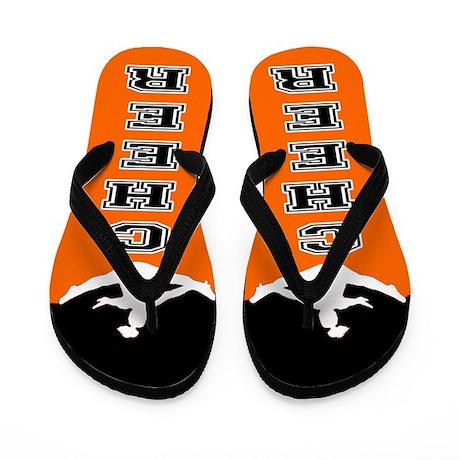 Cheer Black and orange Flip Flops
