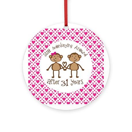 31st Anniversary Love Monkeys Ornament (Round)